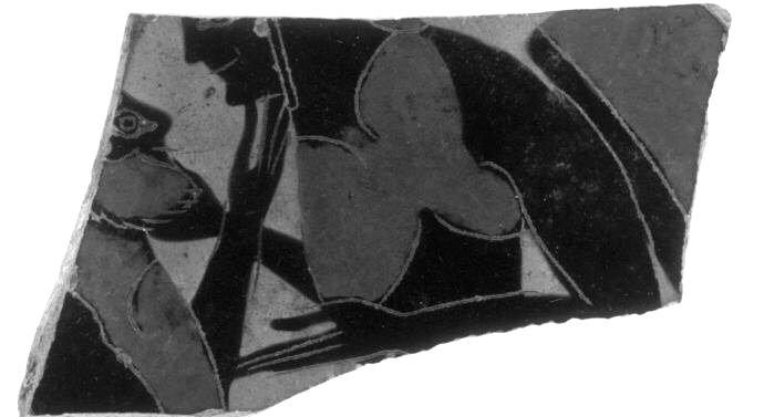 Heidelberg Painter (fl. c. 575 - 555 BCE; manner of), British Museum, London B 600.28 (563/562-550 BCE; excavated at Naucratis, Egypt). Black-figure Siana cup fragment.