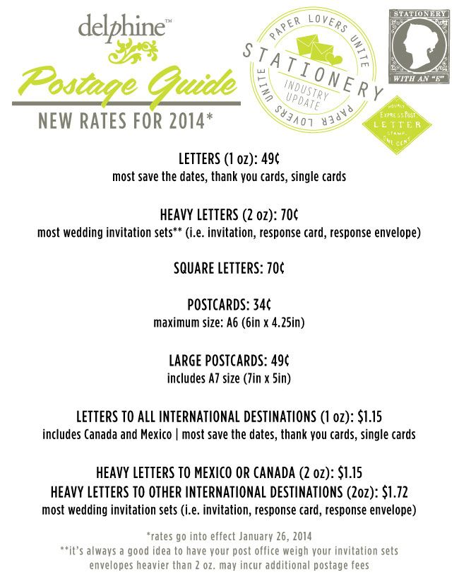 calling all 2014 brides: you need to know this for all of your wedding stationery! | New 2014 USPS rates via Delphine