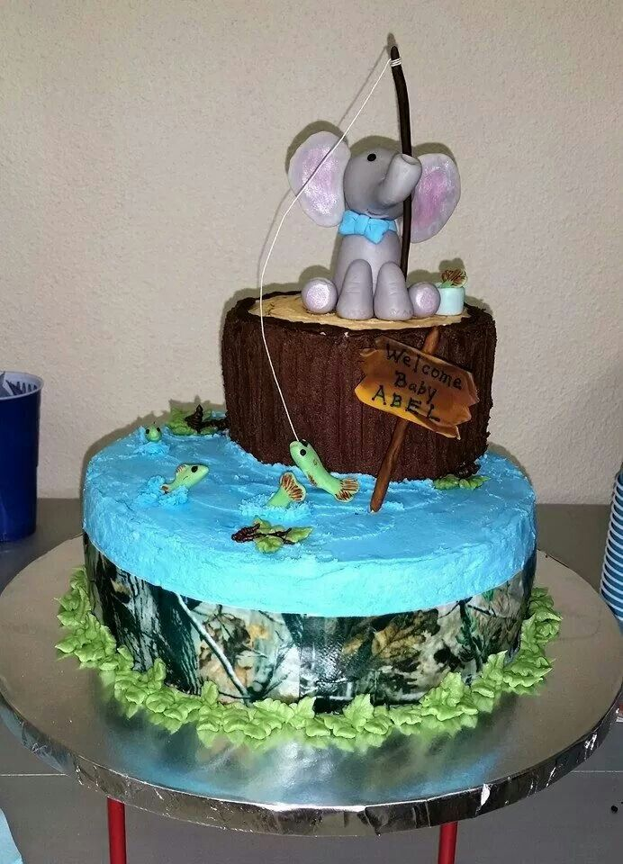 15 best baby abel 39 s elephant fishing and camo theme baby for Fishing themed baby shower