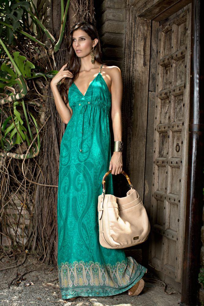 vestido verde esmeralda colección bohemio studio f. Simple and chic