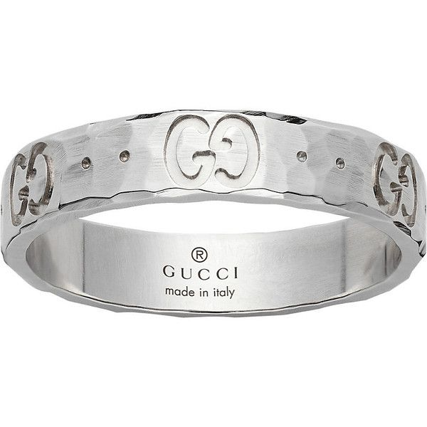 Gucci Icon hammered 18ct white gold ring ($550) ❤ liked on Polyvore featuring jewelry, rings, white ring, hammered jewelry, white gold rings, gucci ring and hammered ring