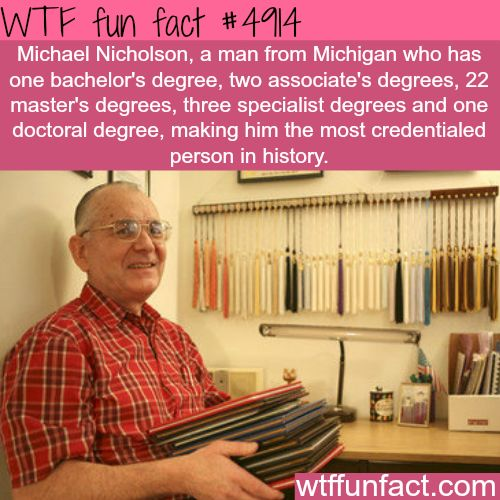 Michael Nicholson, the most credentialed person in history - WTF fun facts