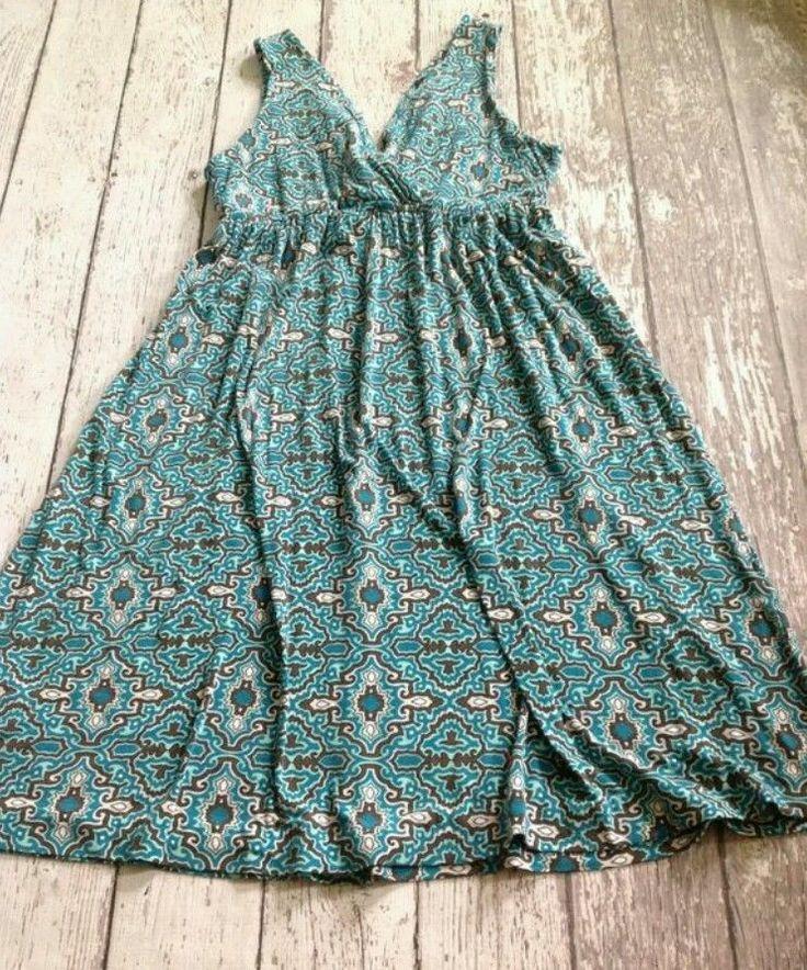 ** New York & Company sz S ~ teal tribal bohemian sundress - #NewYorkCompany #Sundress #SummerBeach