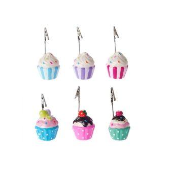 Present time Cupcake fotohouder. Gezellig cupcakes in verschillende vrolijke kleuren