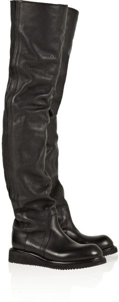 Rick Owens Leather Overtheknee Boots in Black