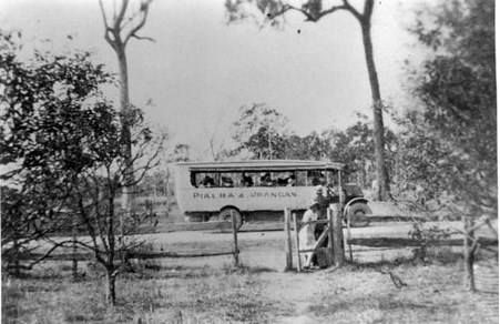 One of the first buses between Maryborough and Pialba, 1931. Rutherford's ran a special service to Maryborough on Tuesday's and Friday's, for four shillings return or two shillings and sixpence single. Turner's bus ran to Maryborough on the three other days of the week. This bus had solid wheels:
