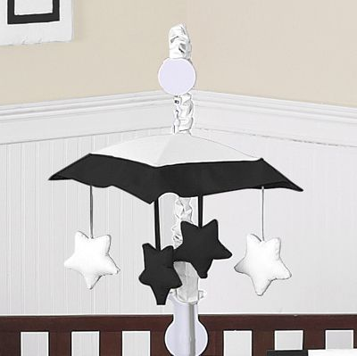 White and Black Modern Hotel Musical Baby Crib Mobile by Sweet Jojo Designs - Click to enlarge