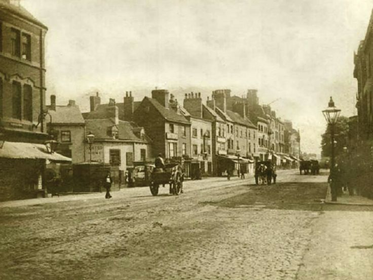 Milton Street, Nottingham, 1895. Looking south towards Parliament Street and Trinity Square with entrance to Charlotte Street on the left. Taken before construction of the Victoria Railway Station on the area to the left, now occupied by the Victoria Shopping Centre.