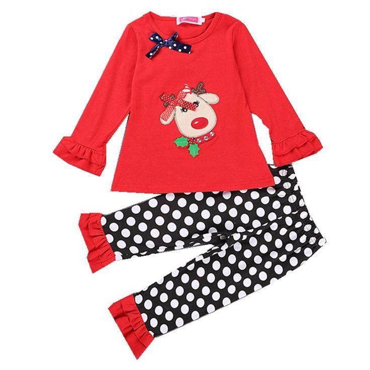 Девочки одежда комплект младенческой рождественские костюмы дети рождество пижамы дерьмо брюки детская одежда комплект малыша девочки одежда