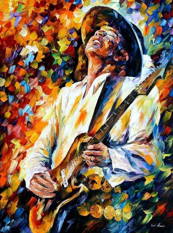 Stevie Ray Vaughan — Portrait de couteau à PALETTE de musiciens modernes peinture à l