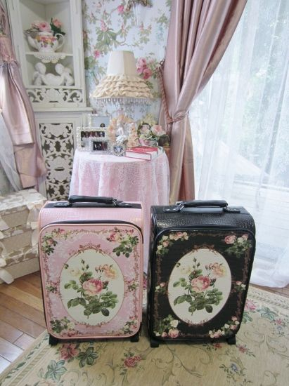 Of Cabbages and Kings,,painted vintage suitcases