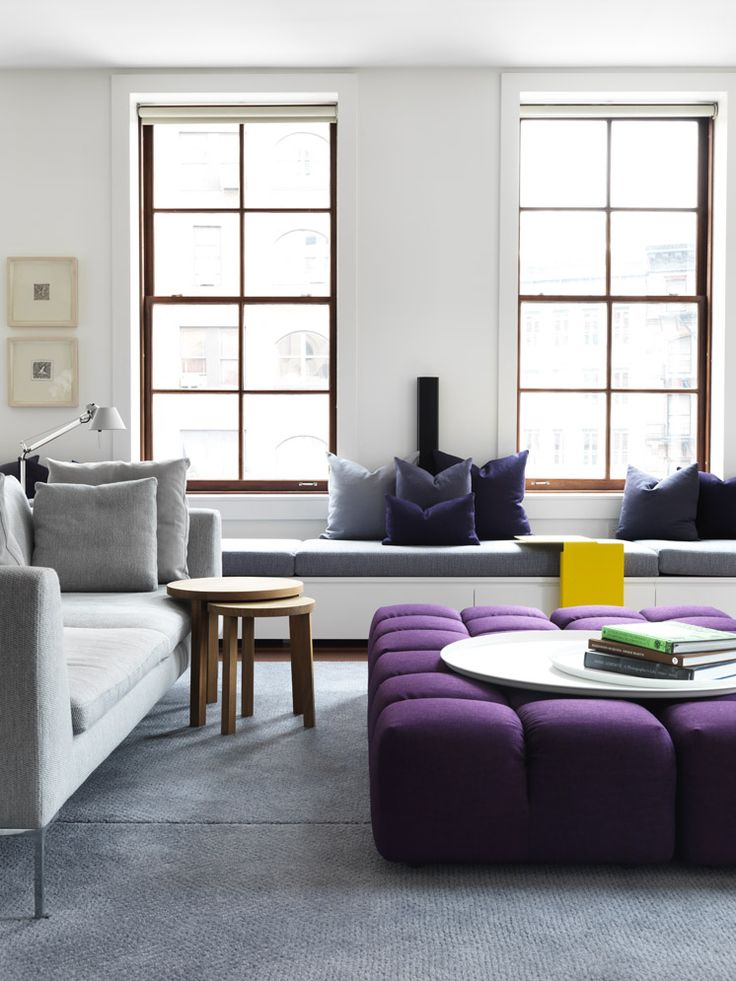 Nexus | Tribeca Loft Apartment | Est Magazine  Gorgeous oversized ottoman...great seating under window