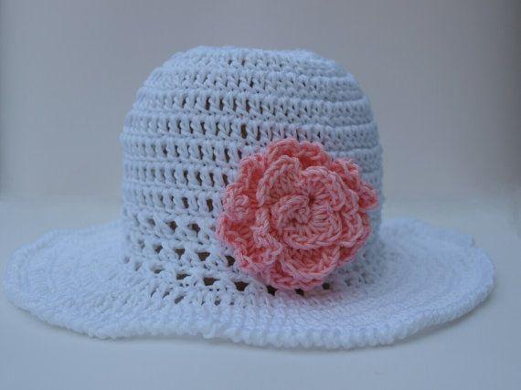 Girls Summer floppy hat crochet summer hat cotton by elenis4you, $22.00