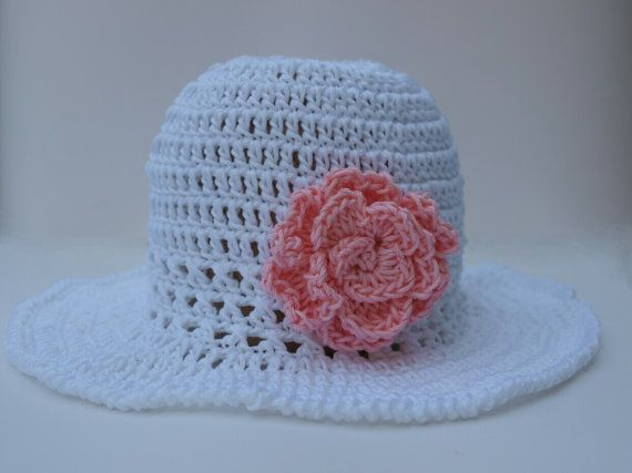 Girls Summer floppy hat crochet summer hat cotton by elenis4you, $22.00