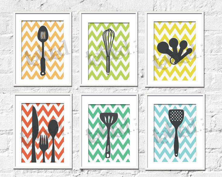 Kitchen Art Prints Chevron Kitchen Set Of 6 8X10 By TexturedINK, $56.00
