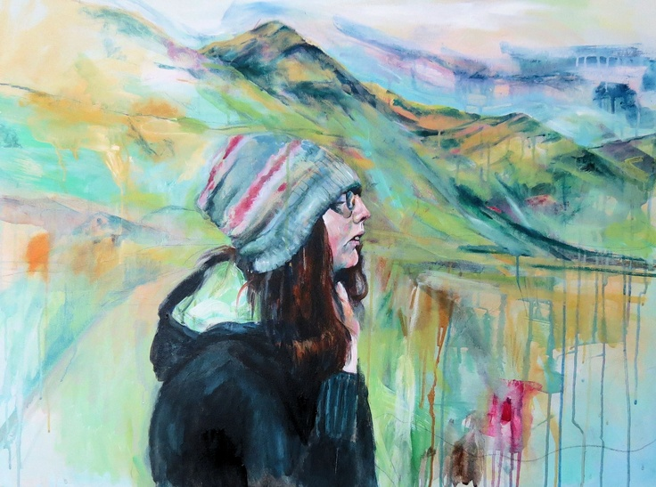 In the Mountains Mixed media on canvas © Bev Dunne