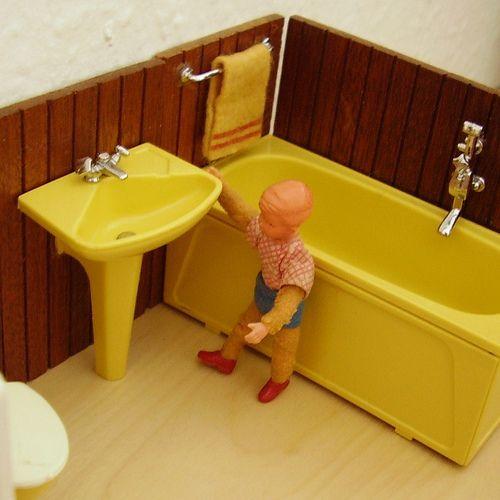 1960er Schönherr - Polstergarnitur Dollhouse furniture, Dolls - badezimmer 1970