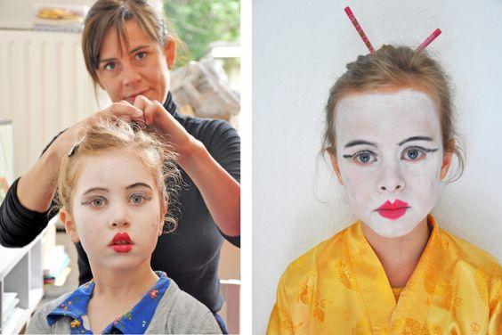 Geisha style face-paint.