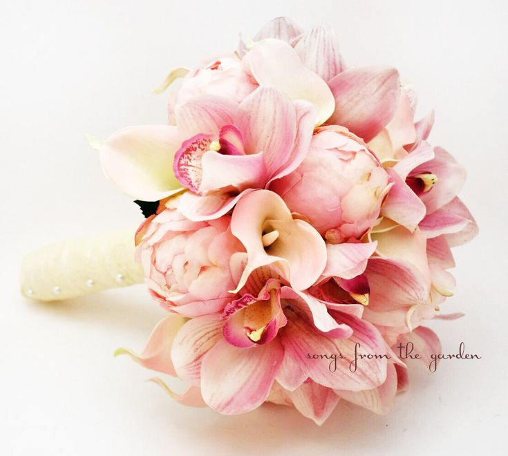 Bridal Bouquet Peonies Calla Lilies by SongsFromTheGarden on Etsy, $165.00