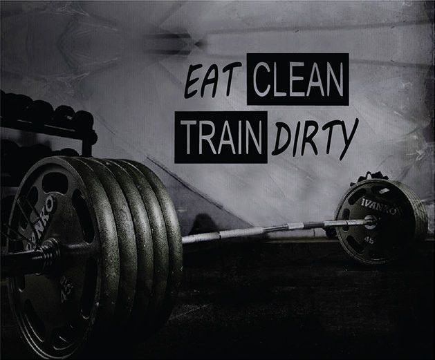 Fitness Motivation Home Gym Wall Decal - Eat Clean Train Dirty Wall Decal
