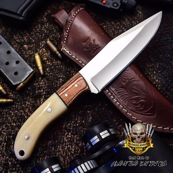 ALONZO KNIVES USA CUSTOM HANDMADE HUNTING CAMPING 1095 KNIFE CAMEL BONE 2839   Collectibles, Knives, Swords & Blades, Collectible Fixed Blade Knives   eBay!