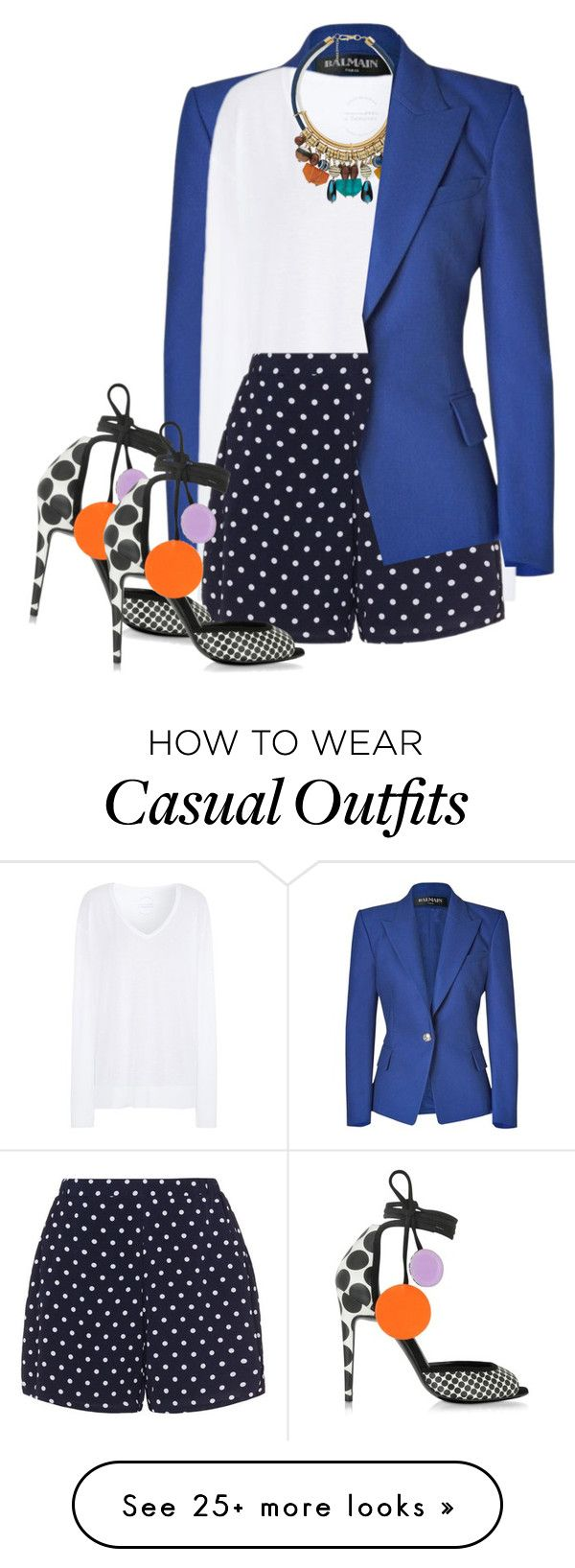 """Casual white shirt"" by budding-designer on Polyvore featuring Balmain, Comptoir Des Cotonniers, MANGO, Zizzi, Pierre Hardy and WardrobeStaples"