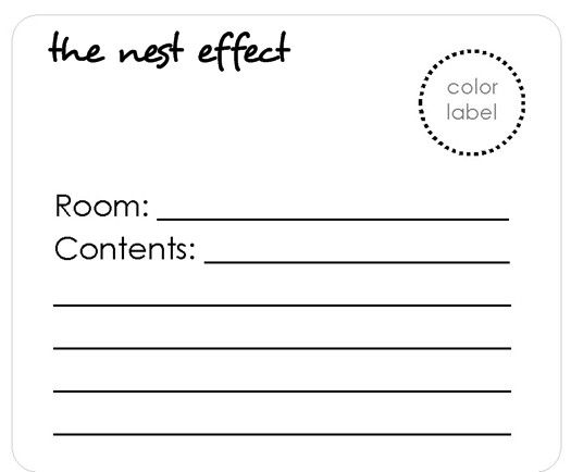 Moving Labels and Checklist- or use notecards with colored dots for labels and room location... I printed lables like this on bright colored papers and cordinated the color to the room I wanted the boxes in. (Hang an extra lable on the door of the room to make it easier for the movers to know where to unload the boxes.)