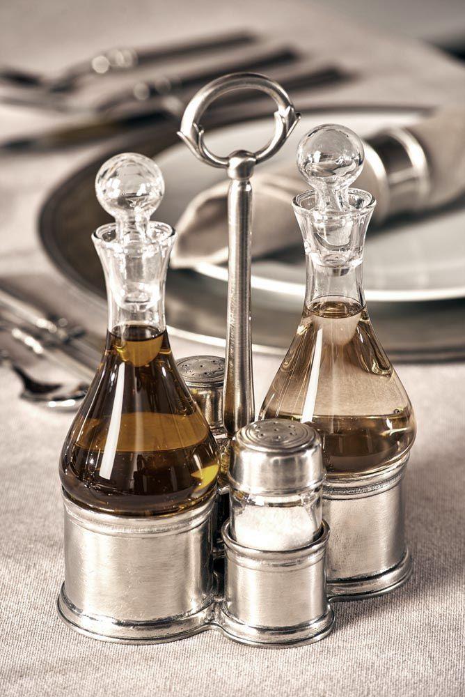 Pewter & Glass Condiment Set - Length: 17 cm (6,7″) - Width: 12,5 cm (4,9″) - Height: 24 cm (9,4″) - Food Safe Product - #pewter #glass #cruets #condiment #set #peltro #vetro #oliera #condimento #zinn #glas #menage #étain #etain #cristal #ménagère #peltre #tinn #олово #оловянный #tableware #dinnerware #table #accessories #decor #design #bottega #peltro #GT #italian #handmade #made #italy #artisans #craftsmanship #craftsman #primitive