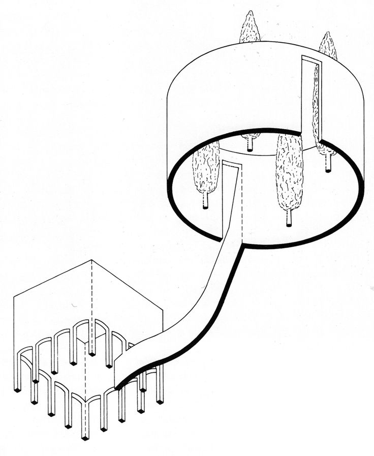 James Stirling, Competition Design for a Museum for the Northrhine-Westphalia Art Collection. 1975.