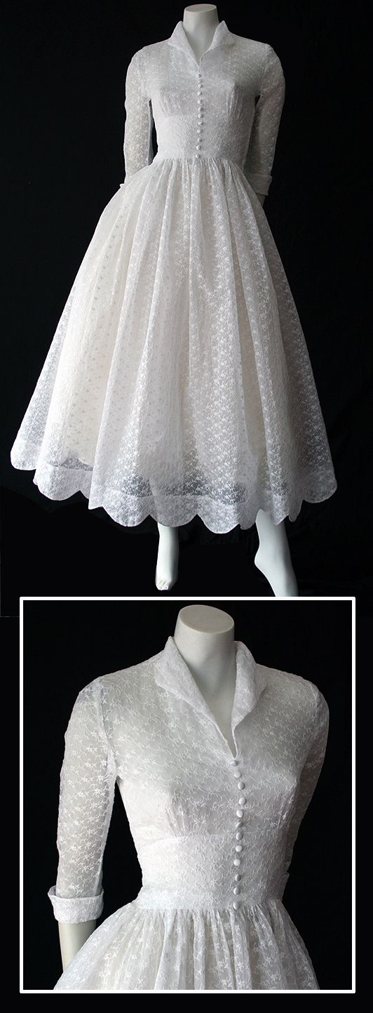 ~Delightful vintage 50s white embroidered organdy dress~