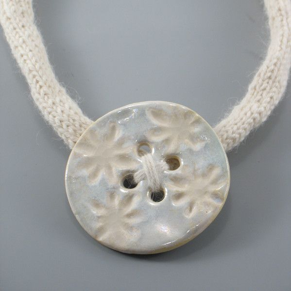Ceramic Neckalces – Ceramic Necklace, Wool Necklace with ceramics – a unique product by Zielonepalce on DaWanda