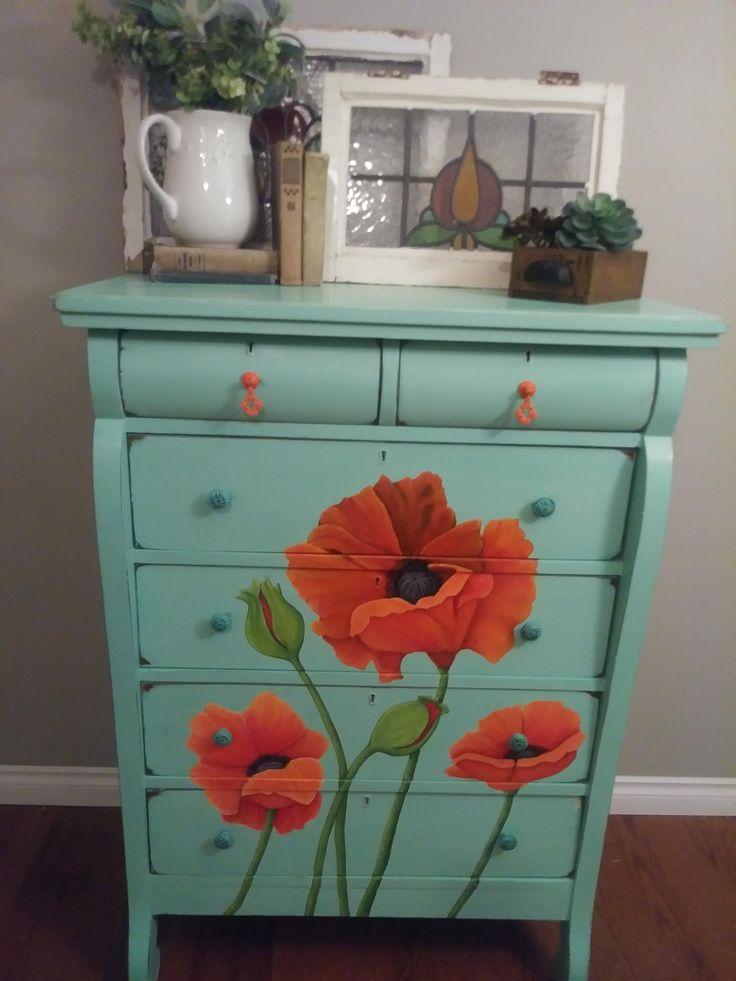 Mad Charlotte  Hand Painted Vintage Farmhouse Poppy Dresser