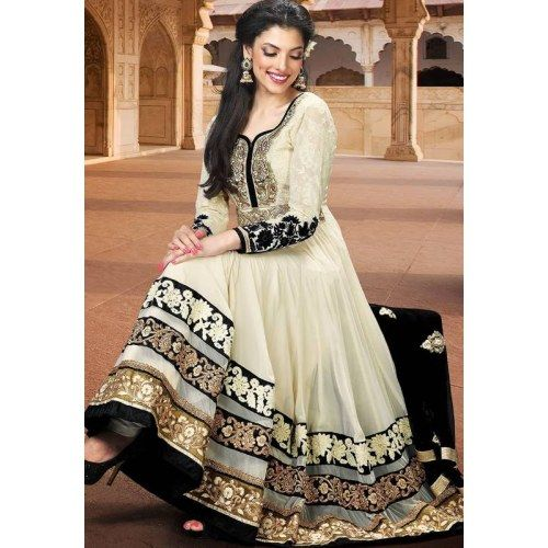 Cream designer embroidered semi stitched anarkali suit