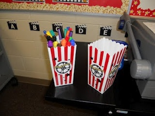 Popcorn containers to hold stuff.  Clutter-Free Classroom: Hollywood Theme Classrooms