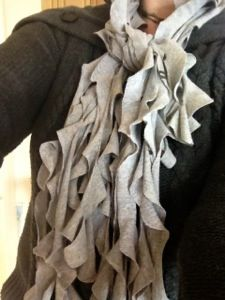 Ruffle scarf, made out of my husband's old t-shirt...love it!