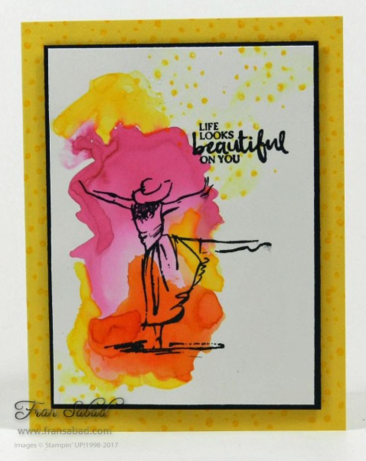 Splashes of color make this gal look like she's dancing in the sunshine. I splashed the color on Shimmery White card stock – drying it between each color – and then stamped the B…