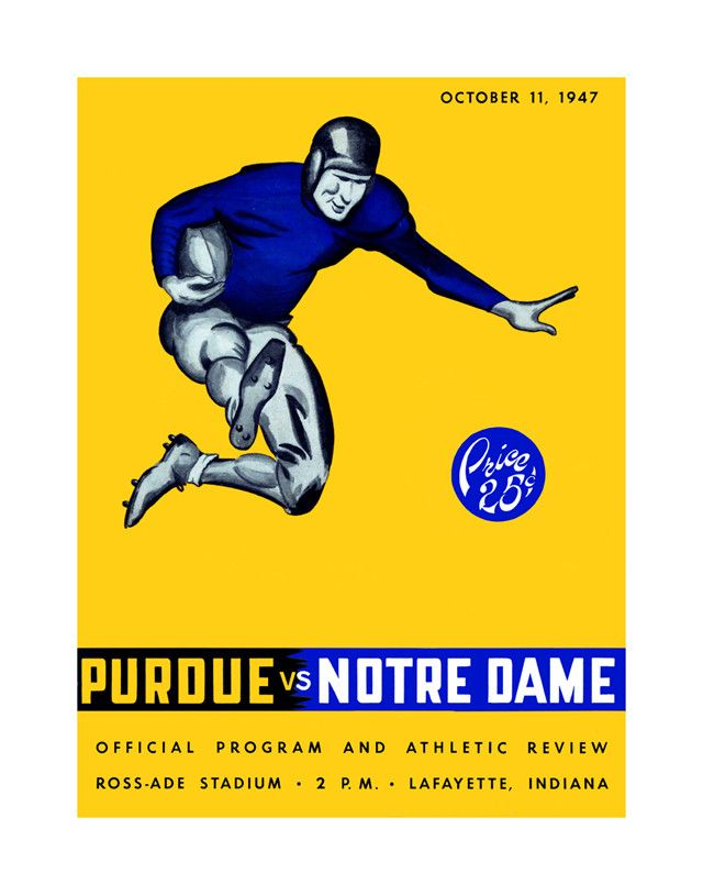 1947 Purdue Boilermakers vs Notre Dame Fighting Irish 22 x 30 Canvas Historic Football Poster