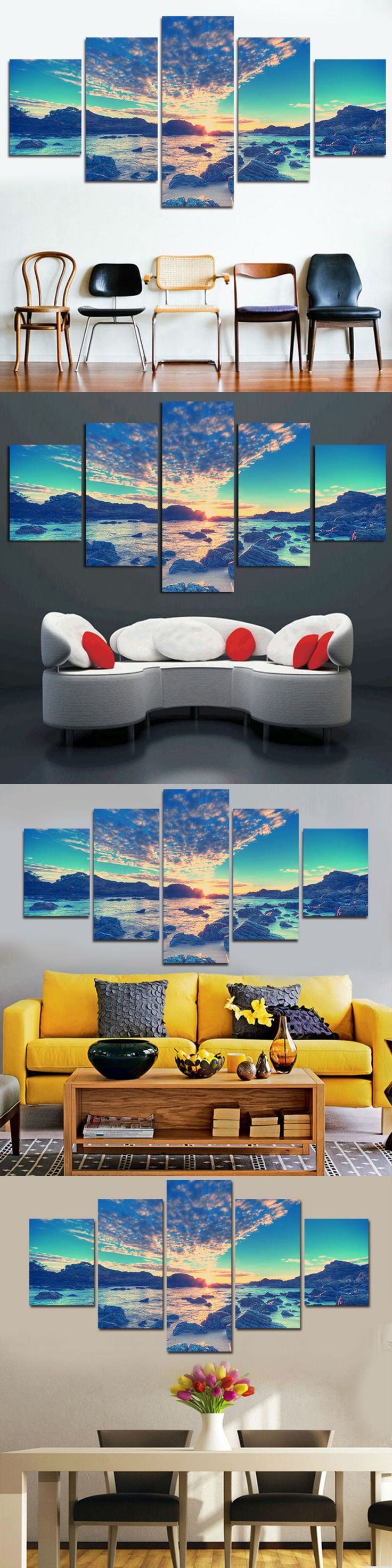 5 Panel Modern Wall Art Home Decoration Canvas Painting Canvas Prints Sea Scenery Beach Sailing Pictures Prints Art $14.9