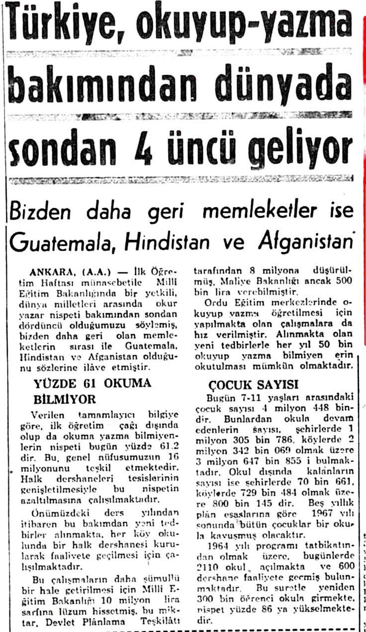 ''Türkiye, okuyup yazma bakımından sondan 4üncü geliyor'' (haber: 24 Eylül 1964 Hürriyet) #istanlook