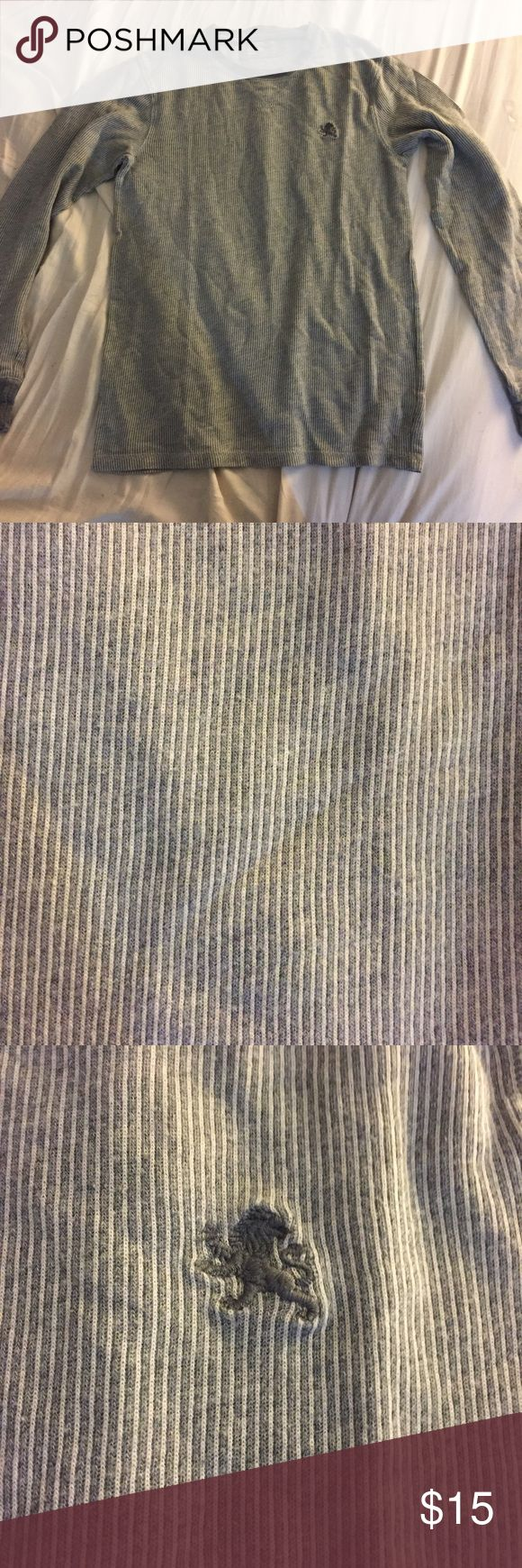 [Express] Men's Thermal Henley Waffle Shirt Grey with white vertical stripes. Great condition! Express Shirts Tees - Long Sleeve