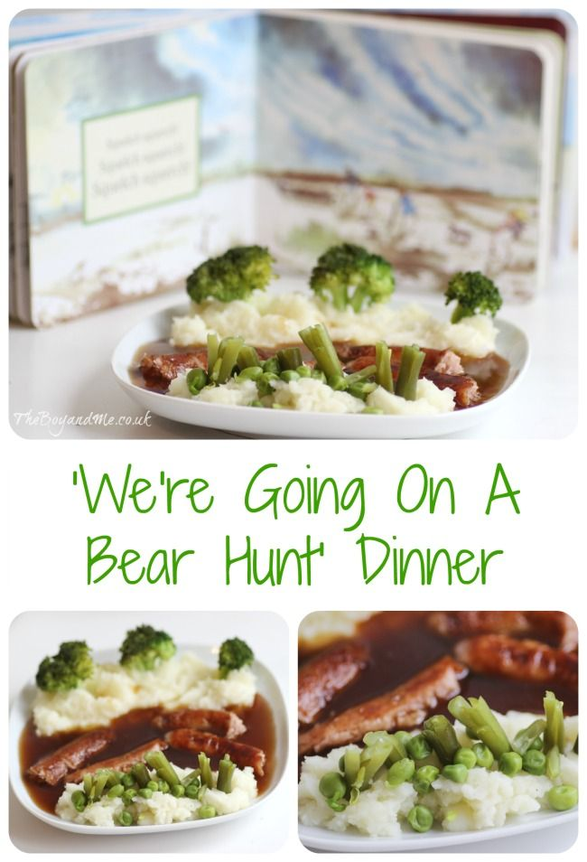 'We're Going On A Bear Hunt' dinner (using sausage and mashed potatoes)