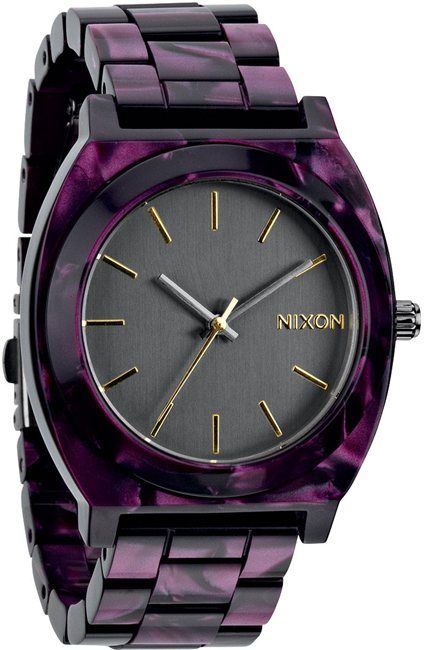 Nixon purple acetate watch. http://www.swell.com/Womens-Accessories-New-Products/NIXON-THE-TIME-TELLER-ACETATE-WATCH-3?cs=GM