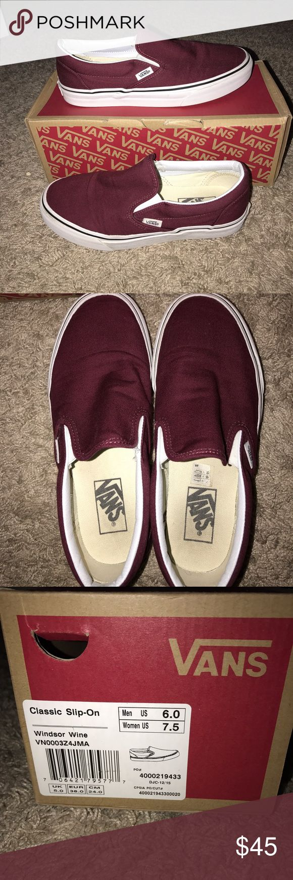 Classic slip on Maroon vans So comfy and in great condition. Only worn a few times. Vans Shoes Sneakers