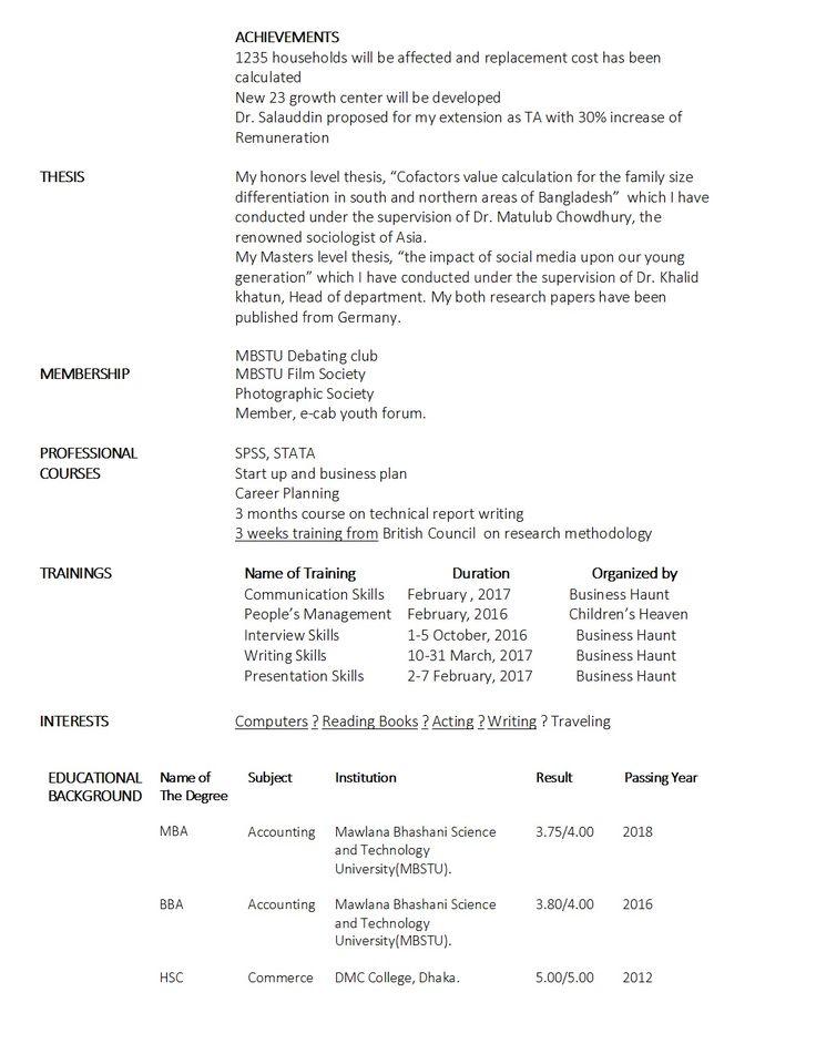 Freshers CV Sample Business Haunt
