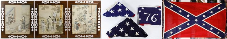 "Lot 512: Asian Print Assortment; Three unsigned prints on paper depicting domestic scenes; together with an American and Confederate Flag Assortment including a 48-star wool flag with by Sterling Bunting, a 50-star cotton flag by Valley Forge, a 1976 Bi-Centennial flag, a printed linen confederate flag and a pair of clip earrings made out of ""CSA"" marked Waterbury buttons"