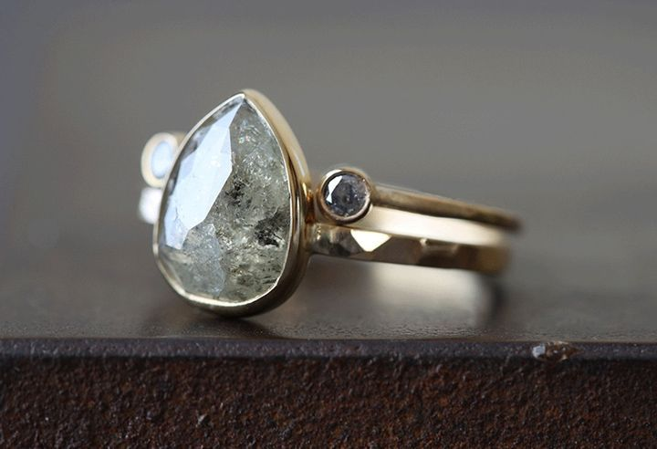 Natural pale green rose cut diamond ring set in 14k yellow gold.  Shown with Open Cuff Diamond Ring. ~ we ❤ this! moncheribridals.com