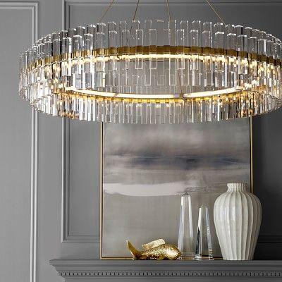 """Phoebe 48"""" Round Crystal Chandelier, Antique Brass #williamssonoma"""