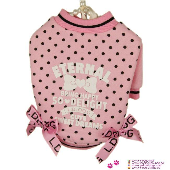 Felpa per Cani Rosa a Pois Sweet Dreams - Felpa rosa a pois neri per cani di piccola taglia, in cotone felpato, dalla linea dritta con maniche corte; adatto per chihuahua, barboncino, carlino