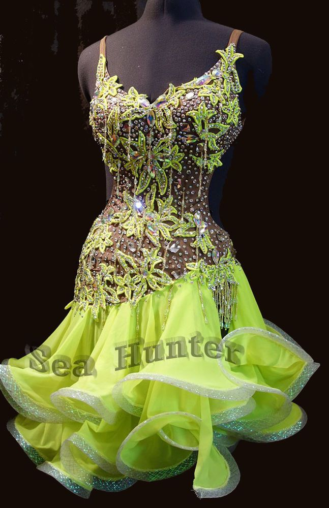 Sexy Green, flesh Ballroom Samba Cha Cha Ramba Latin US12 Dance Dress #1708 #Tailormade