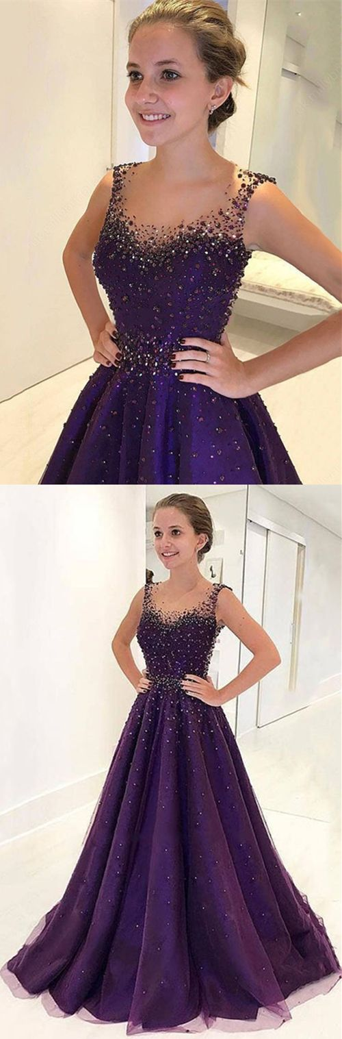 unique purple long prom dresses with beading, elegant tulle beaded evening gowns, modest scoop train sweep train party dresses